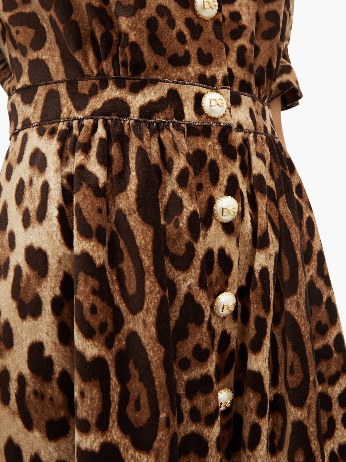 DOLCE & GABBANA Ruffle-trim Leopard-print Velvet A-line Midi Dress