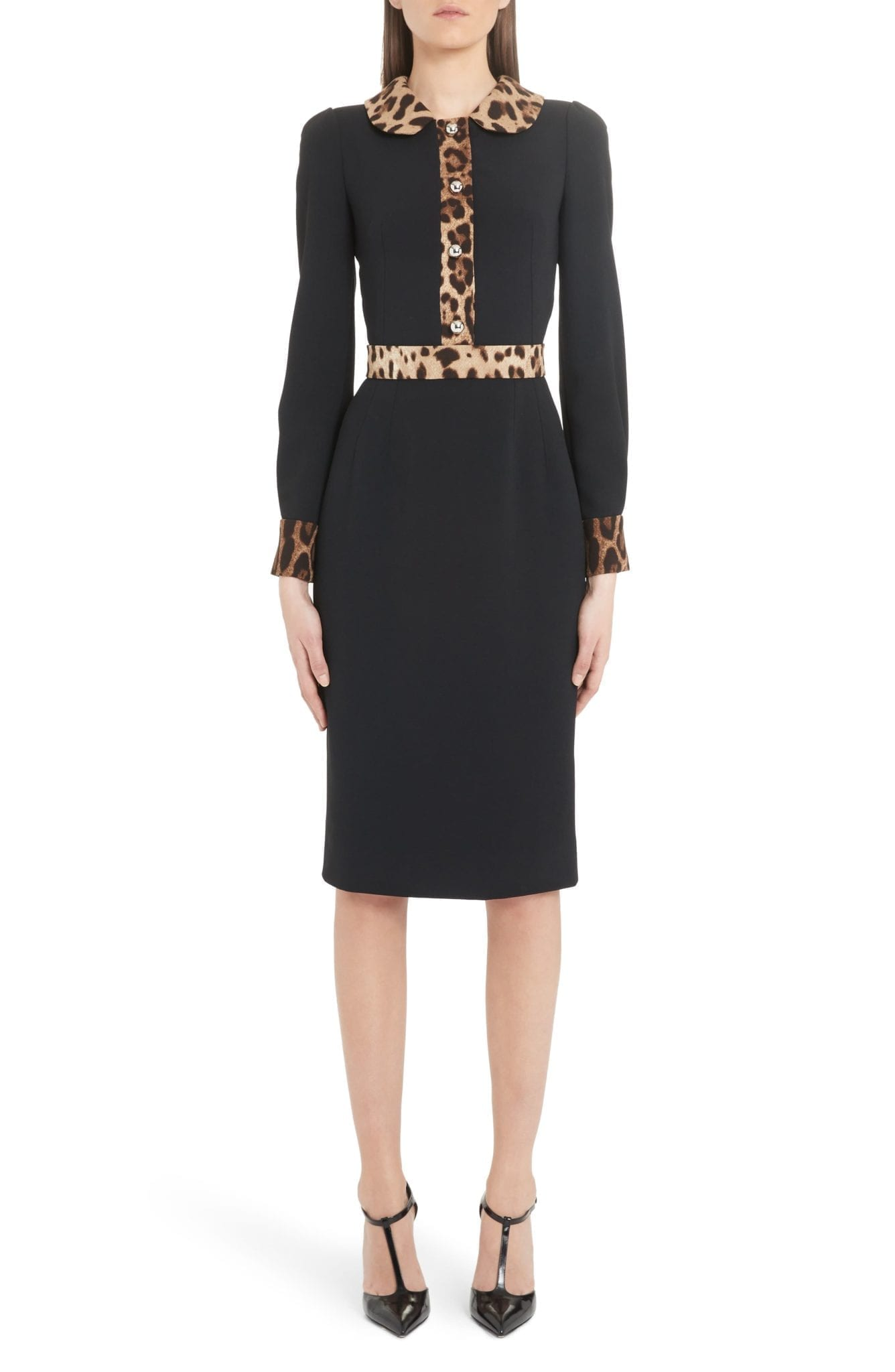 DOLCE&GABBANA Leopard Trim Long Sleeve Sheath Dress