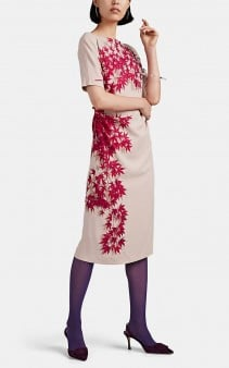DRIES VAN NOTEN Gathered Leaf-Print Crepe Dress