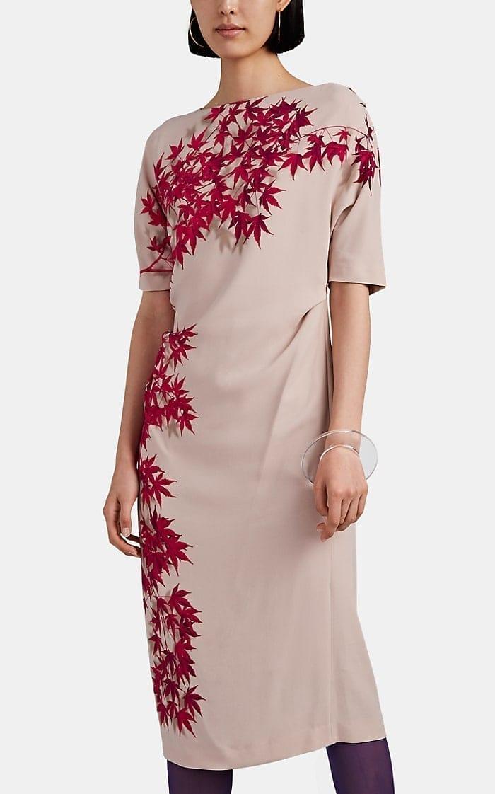 DRIES VAN NOTEN Gathered Leaf-Print Crepe Dress
