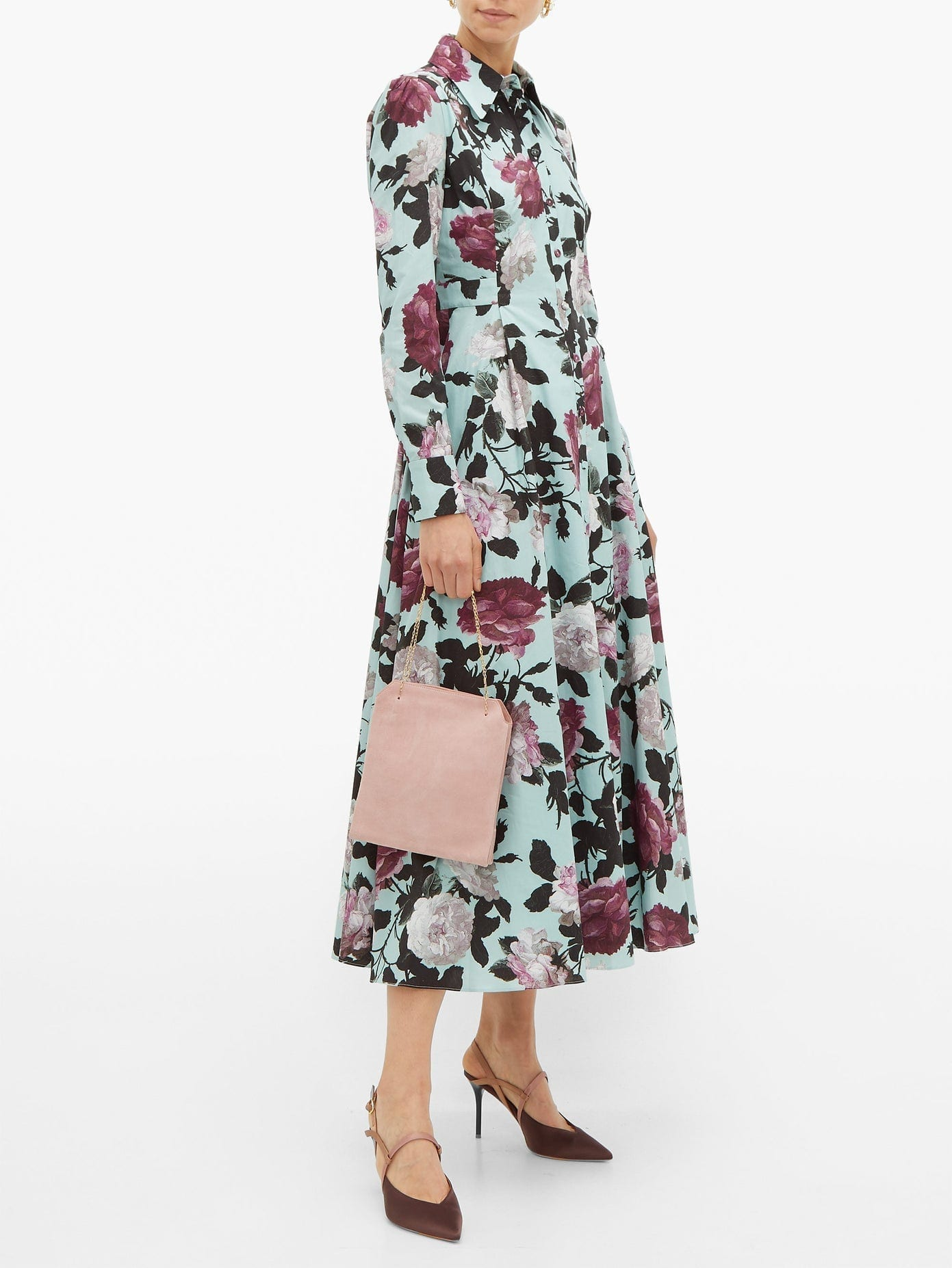 ERDEM Josianne Floral-print Cotton-poplin Shirt Dress