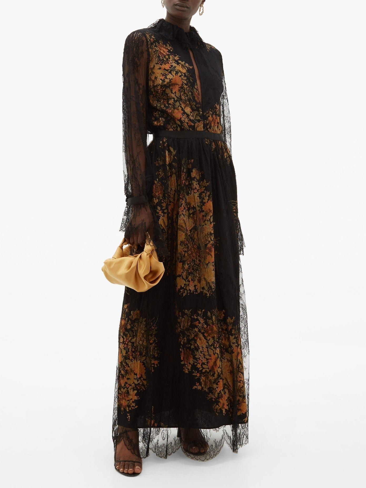 ETRO Nottingham Lace And Floral-print Crepe Gown