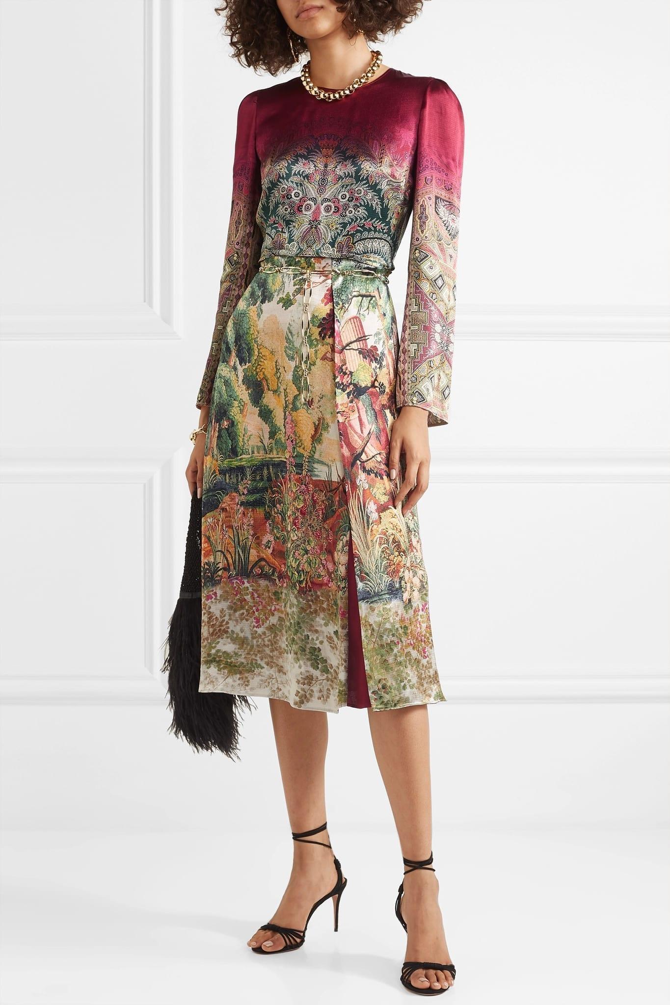 ETRO Printed Crepe De Chine Midi Dress