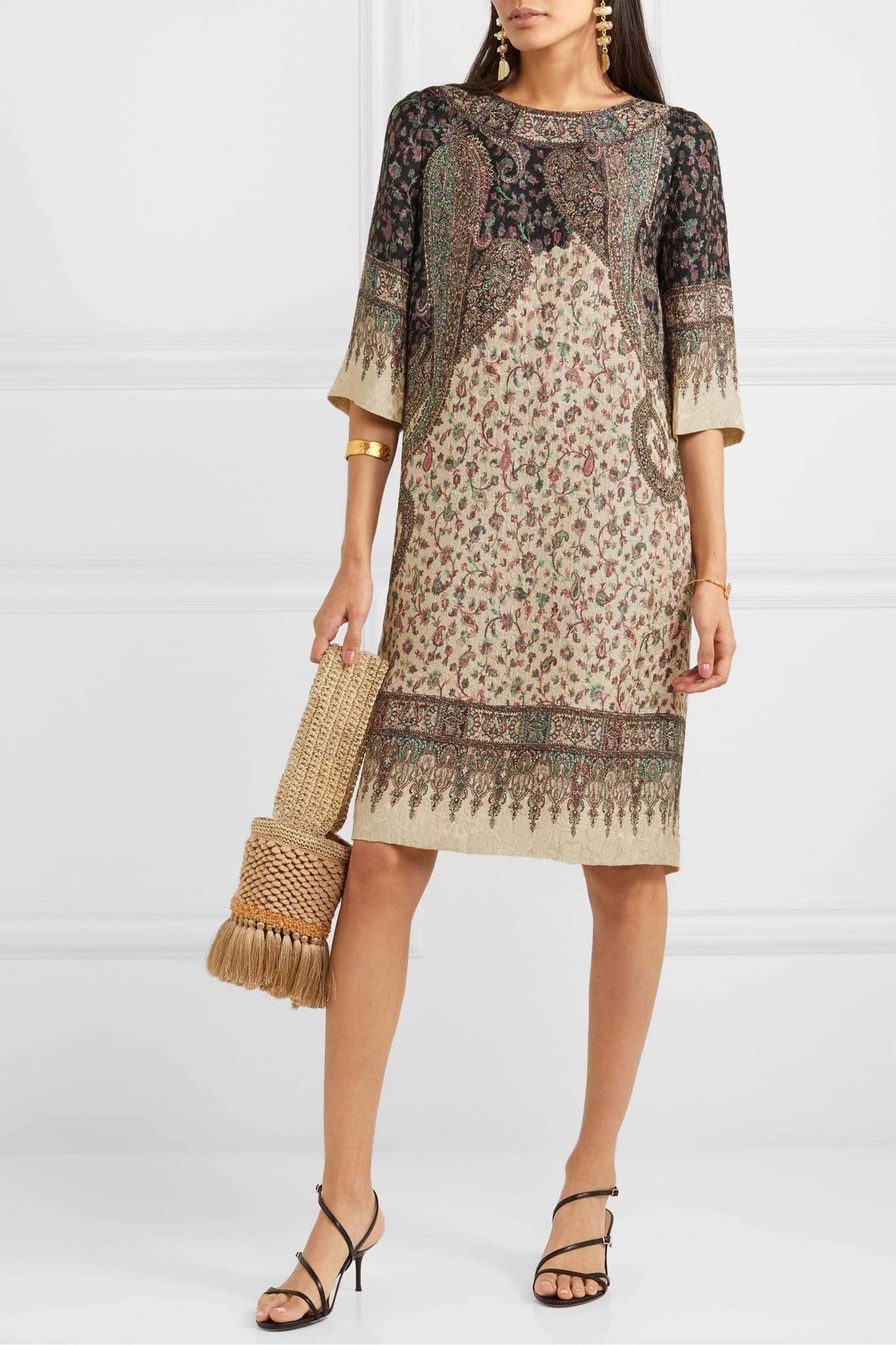 ETRO Printed Silk-blend Cloqué Midi Dress