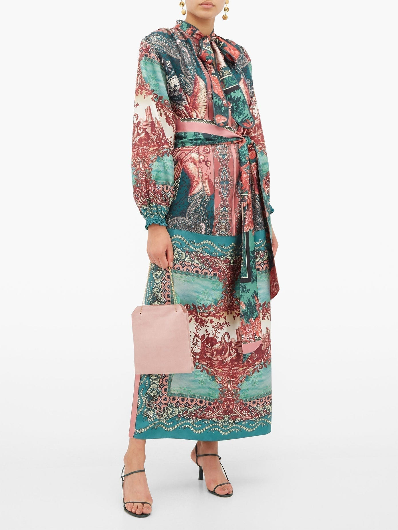 F.R.S – FOR RESTLESS SLEEPERS Brizio Pussy-bow Printed-silk Maxi Dress
