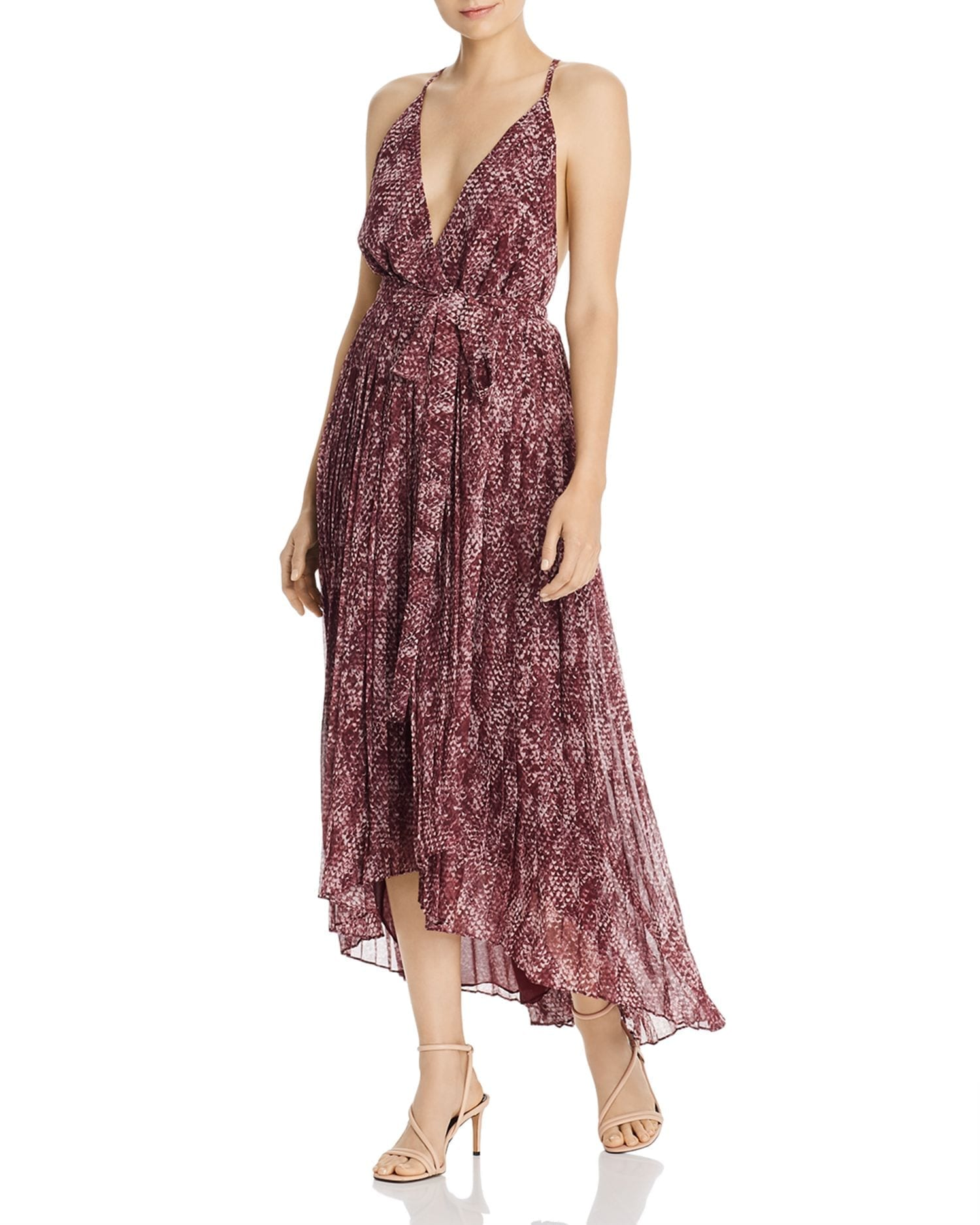FAME AND PARTNERS Snakeskin-Print High Low Wrap Dress