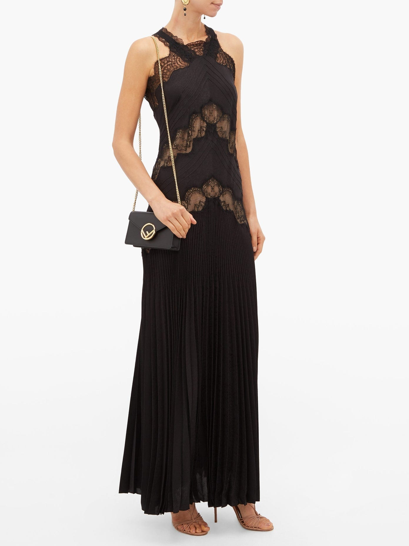 FENDI Lace-panelled Silk-jacquard Dress