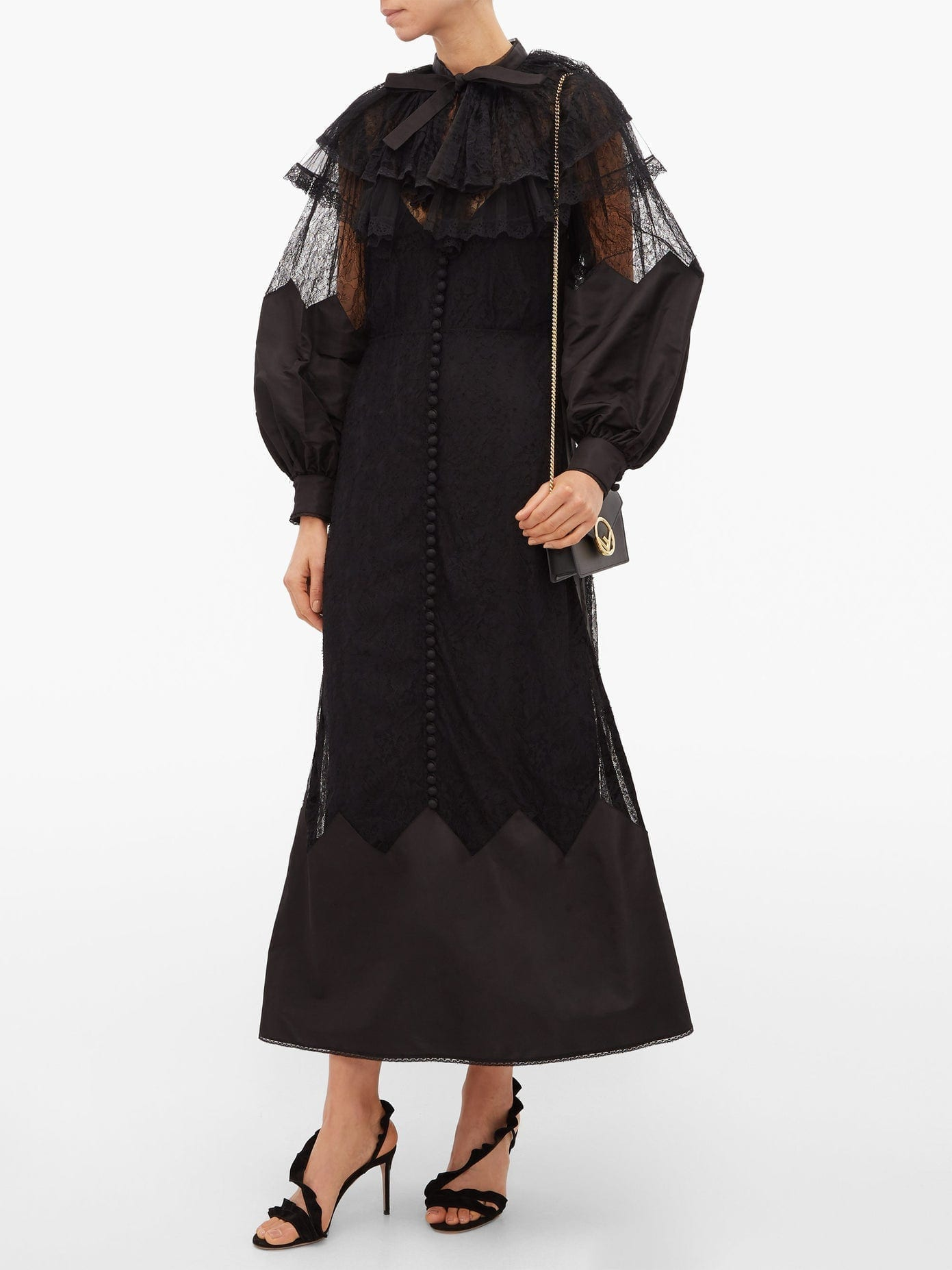 FENDI Ruffled Lace And Taffeta Midi Dress
