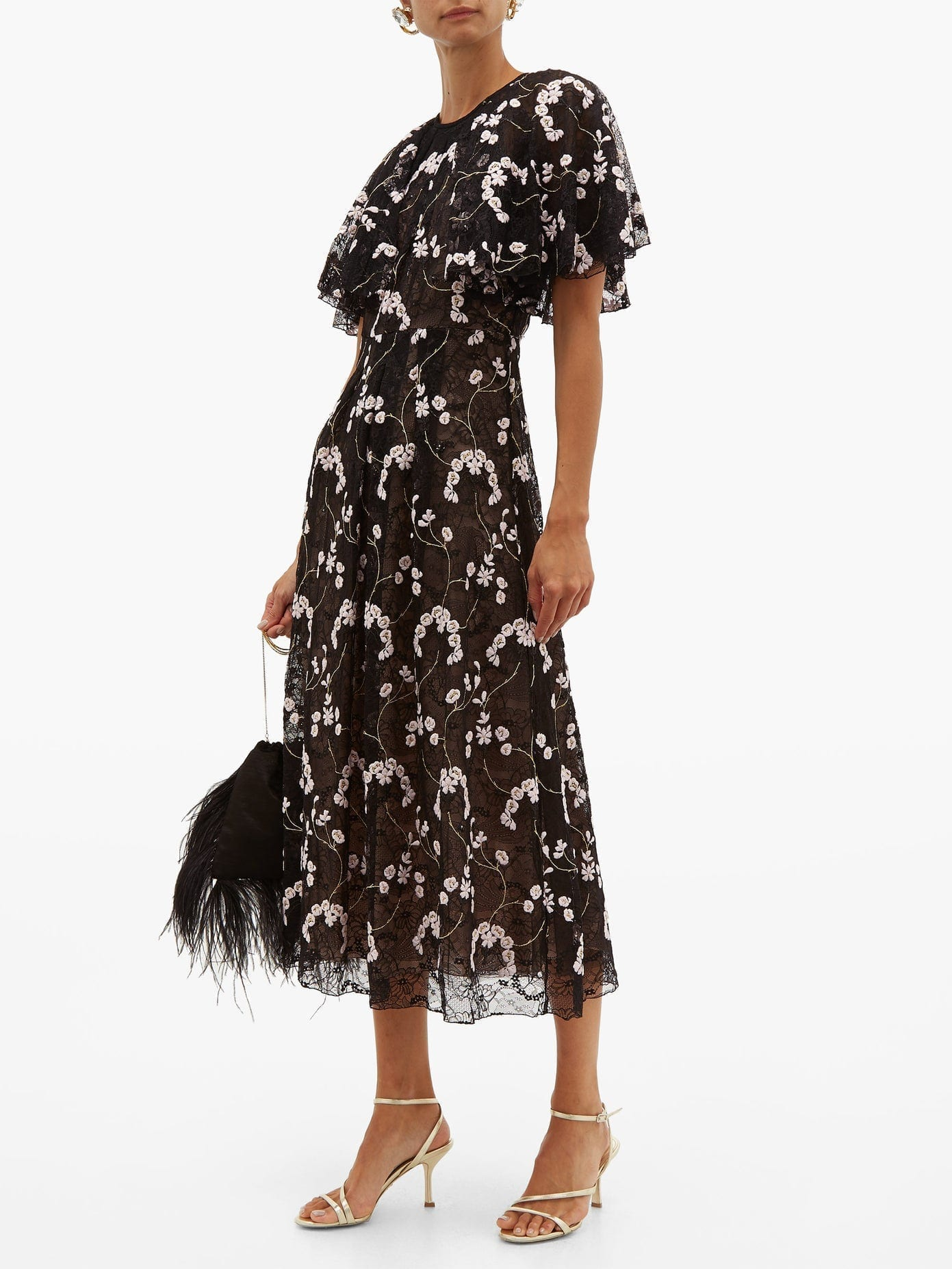 GIAMBATTISTA VALLI Floral-Embroidered Chantilly-Lace Dress