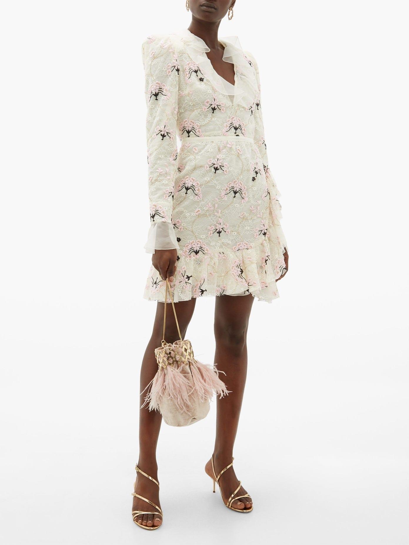 GIAMBATTISTA VALLI Floral-embroidered Chantilly Lace Mini Dress