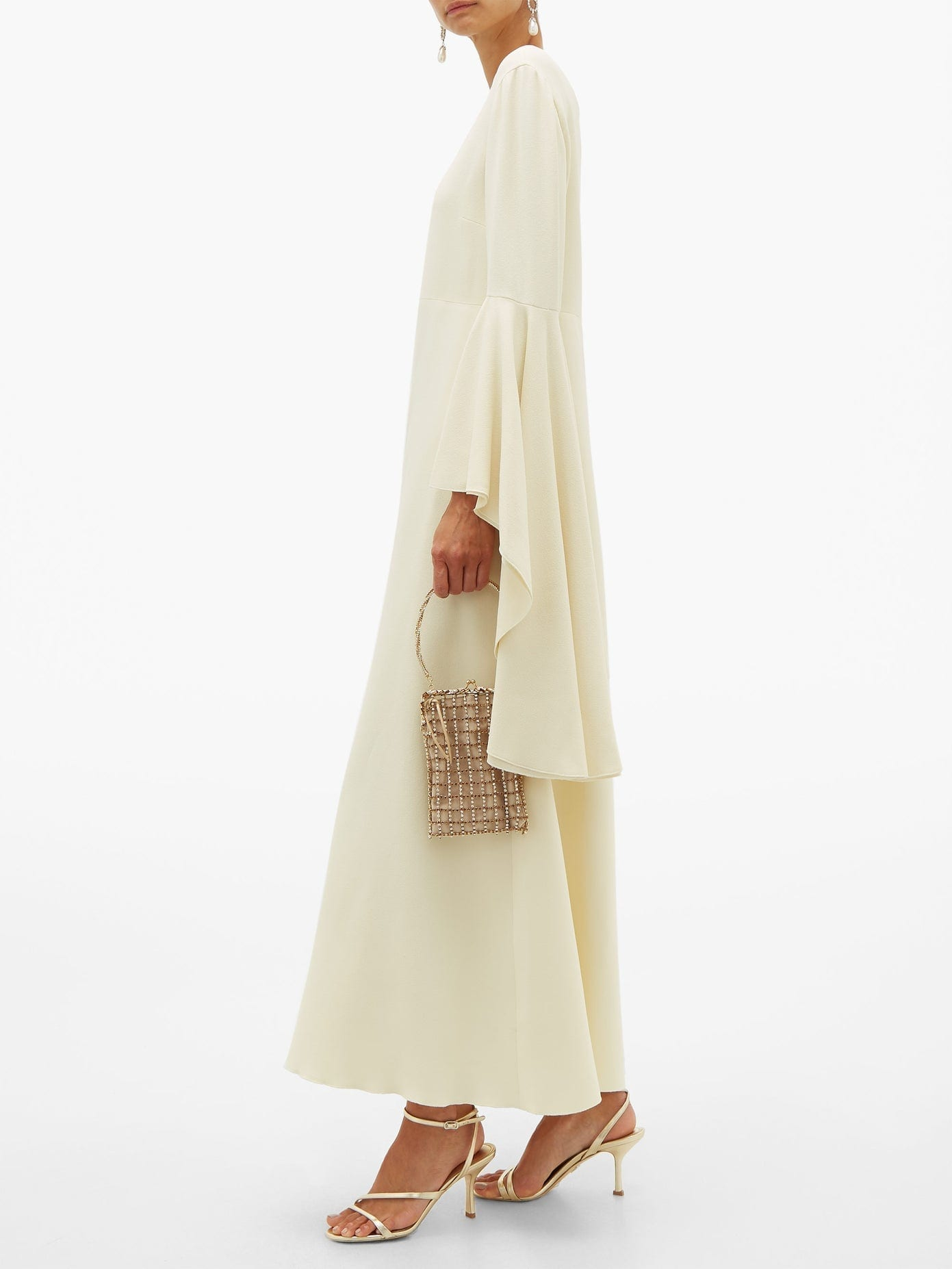 GIAMBATTISTA VALLI Fluted-sleeve Crepe Maxi Dress