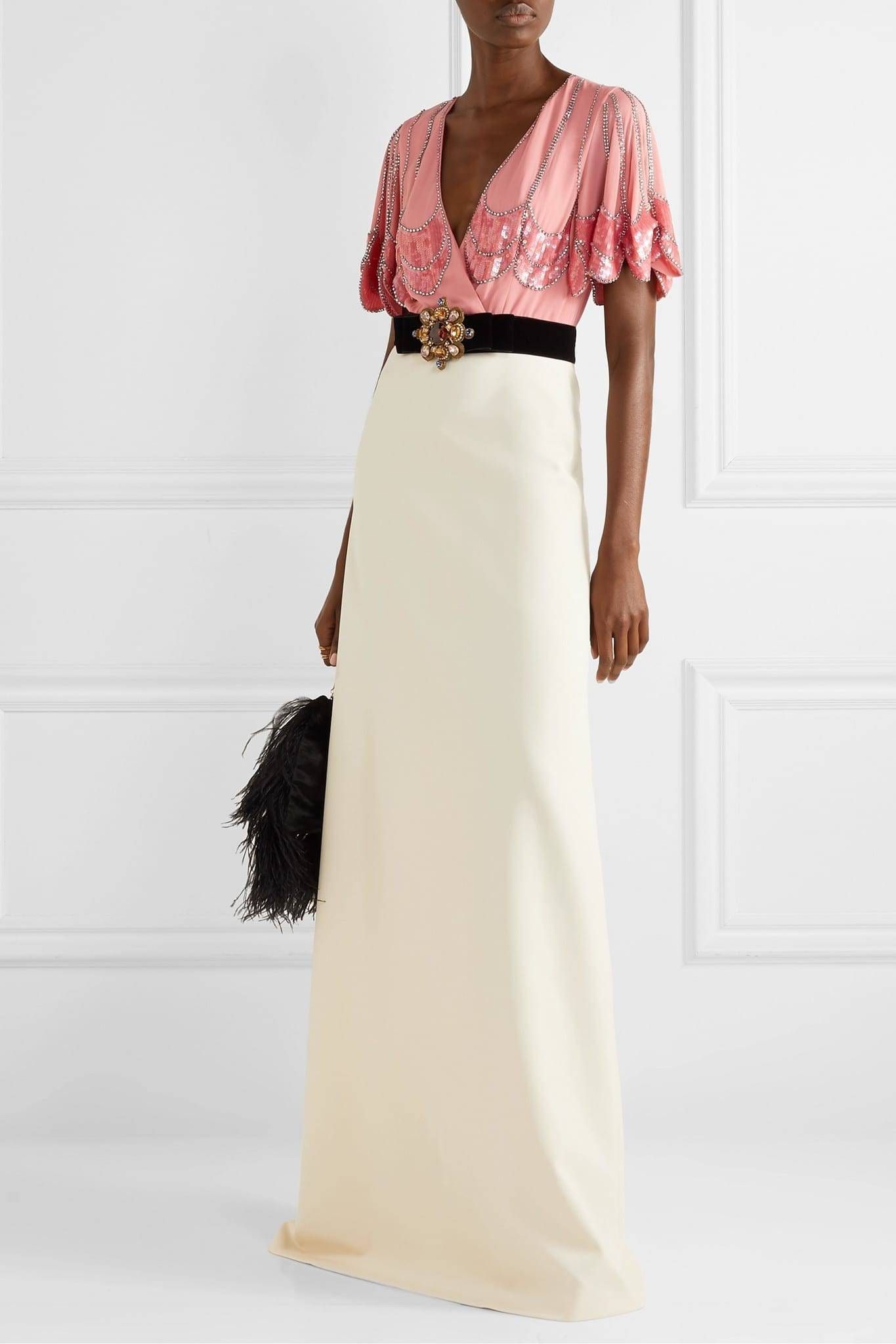 GUCCI Embellished Velvet-trimmed Silk-crepe And Stretch-jersey Gown