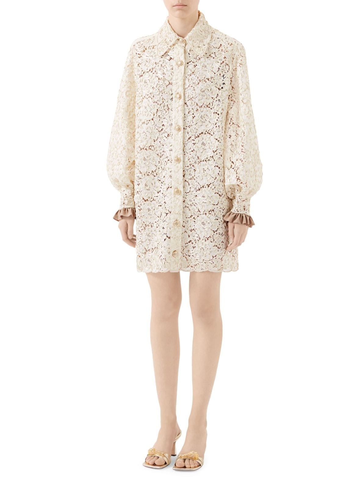 GUCCI Floral Lace Shirt Dress