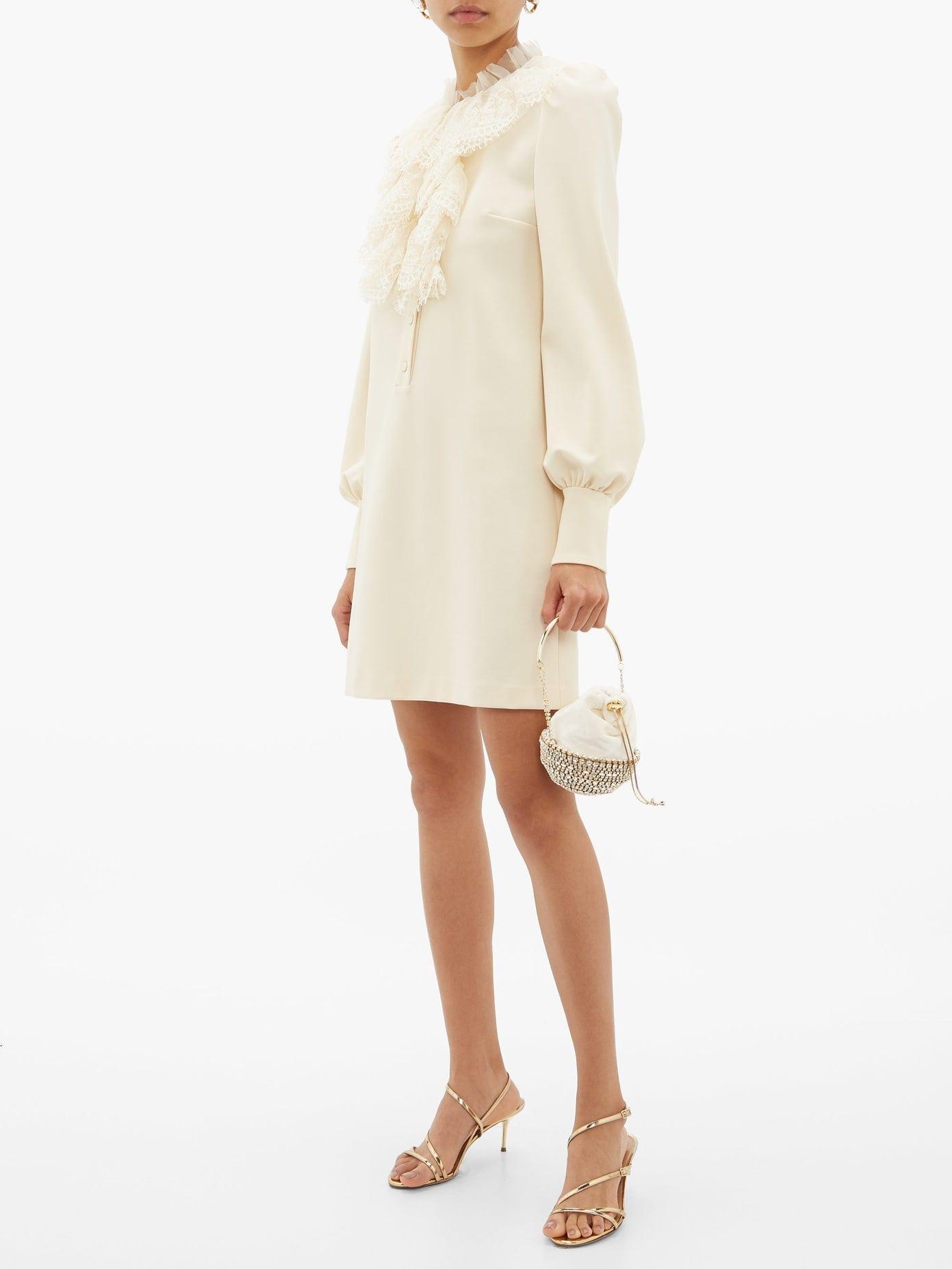 GUCCI Lace-ruffled Cady Mini Dress