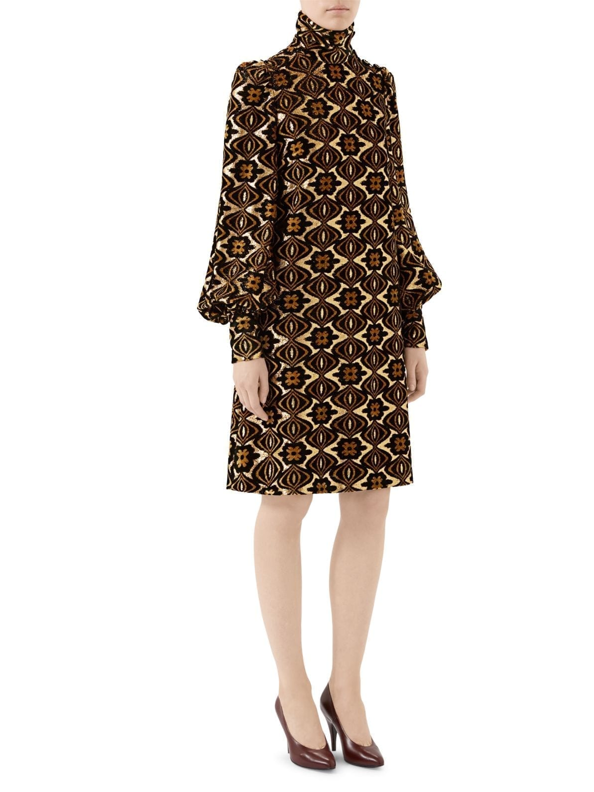 GUCCI Lamé Jacquard Long-Sleeve Turtleneck Shift Cocktail Dress
