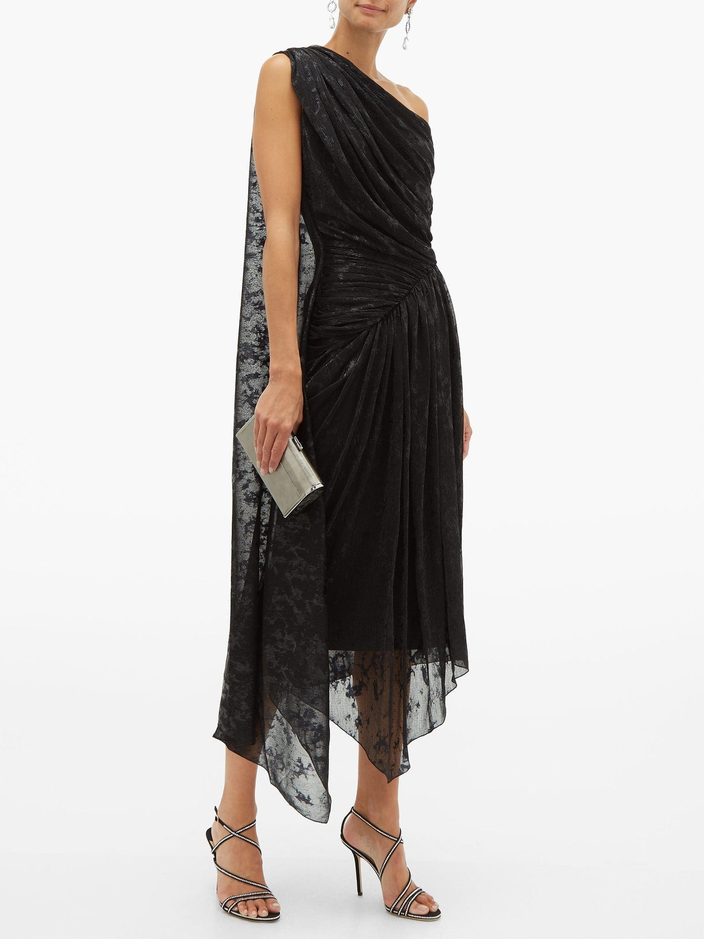 HALPERN One-shoulder Devoré-lamé Dress