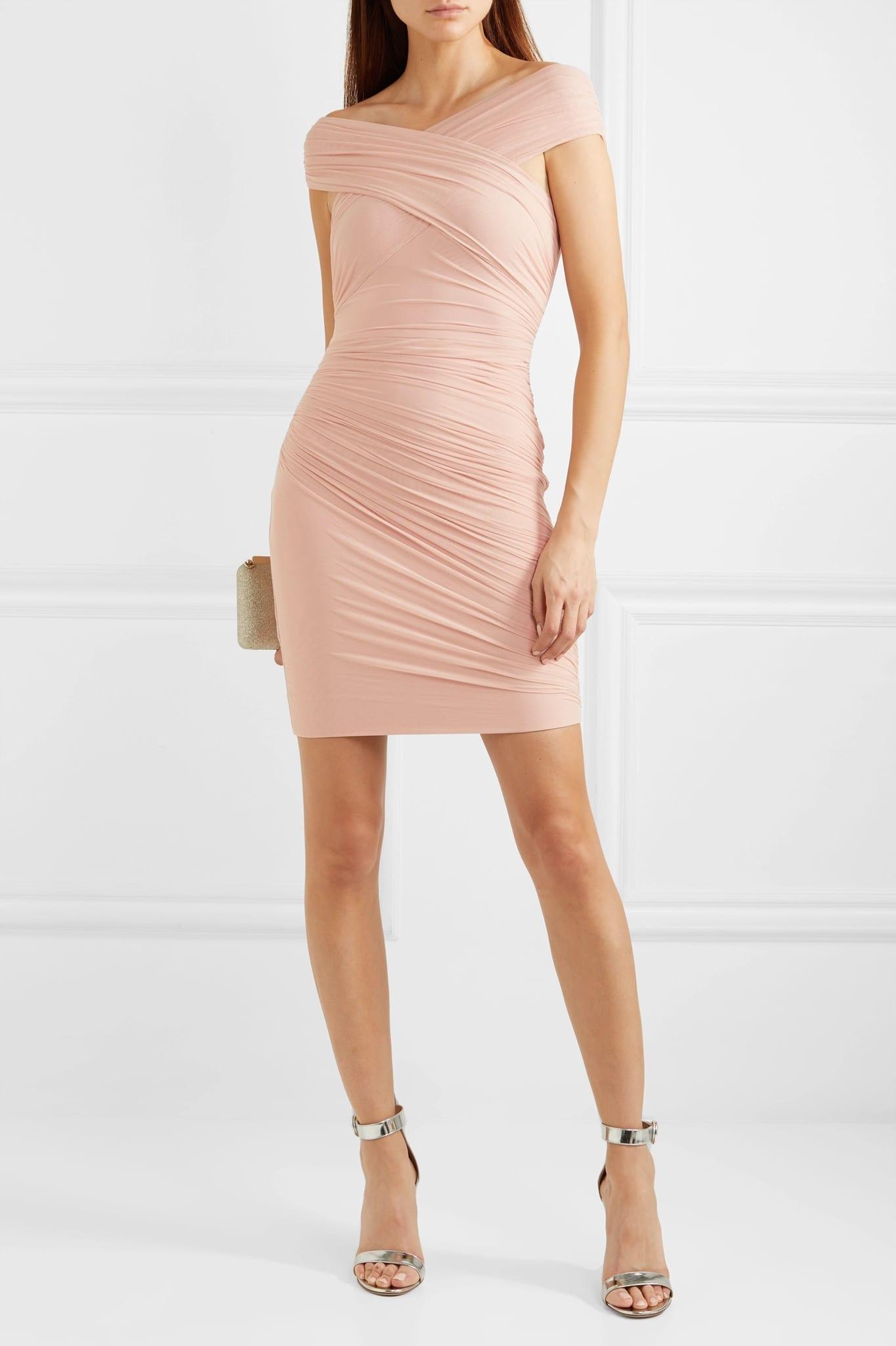 HERVÉ LÉGER Off-the-shoulder Wrap-effect Ruched Tulle And Bandage Dress