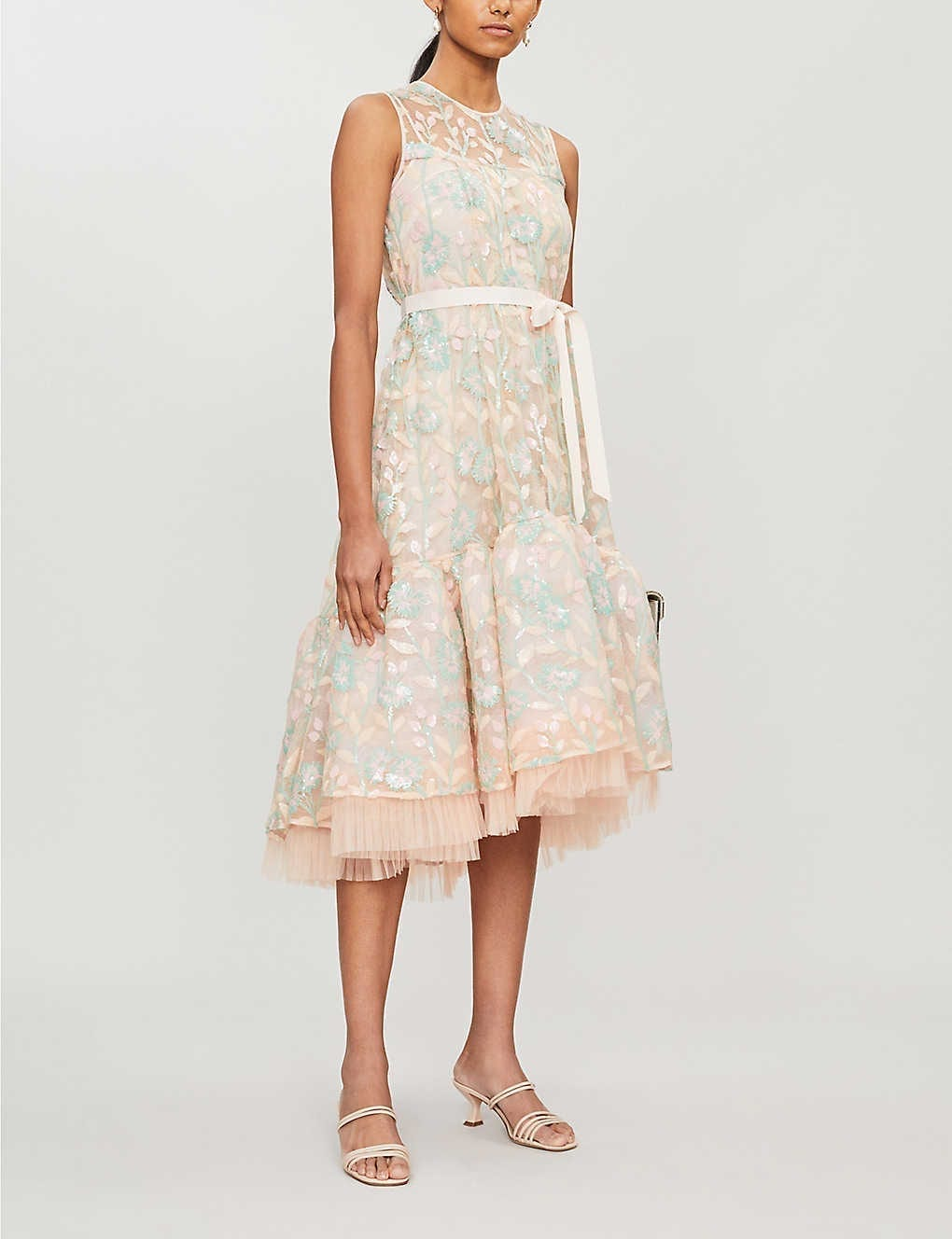 HUISHAN ZHANG Ines Floral-embroidered Sequins And Tulle Dress