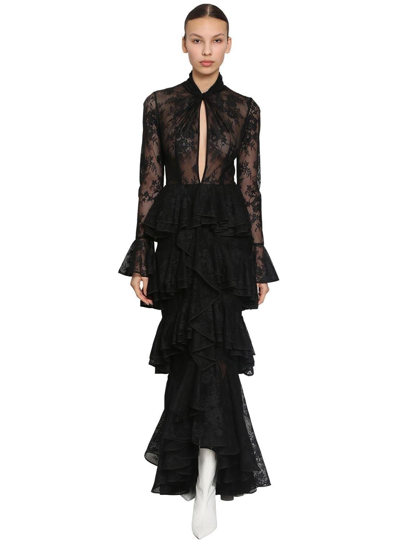 INGIE PARIS Long Ruffled Lace Dress