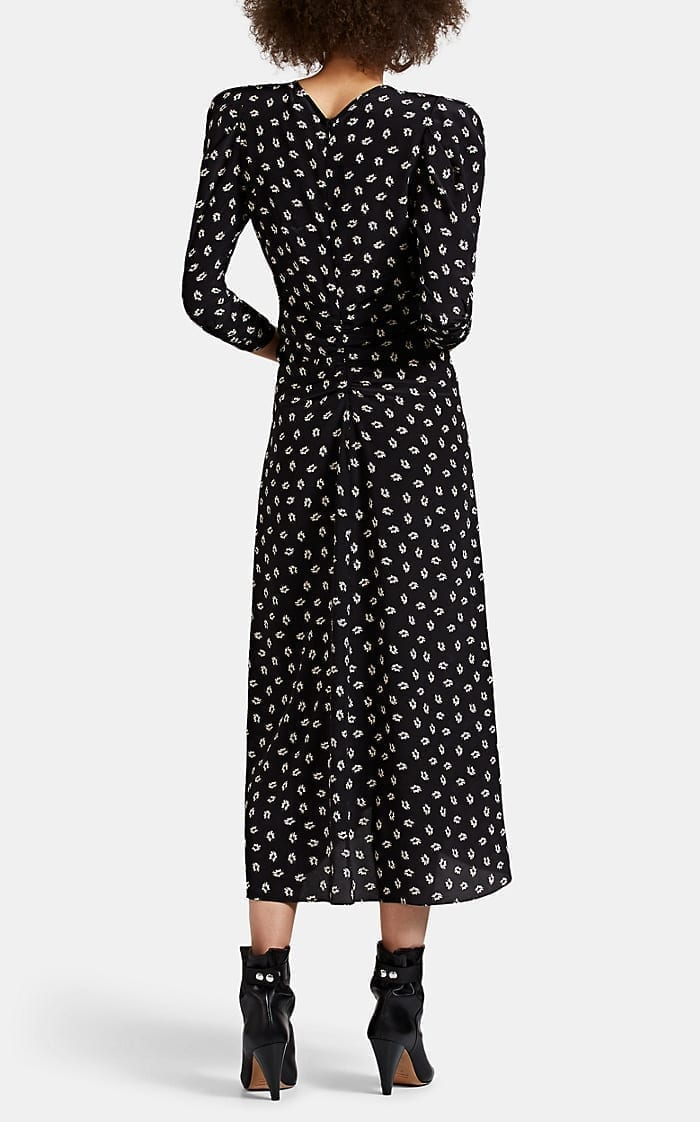 ISABEL MARANT Albi Floral Silk Crepe Midi-Dress