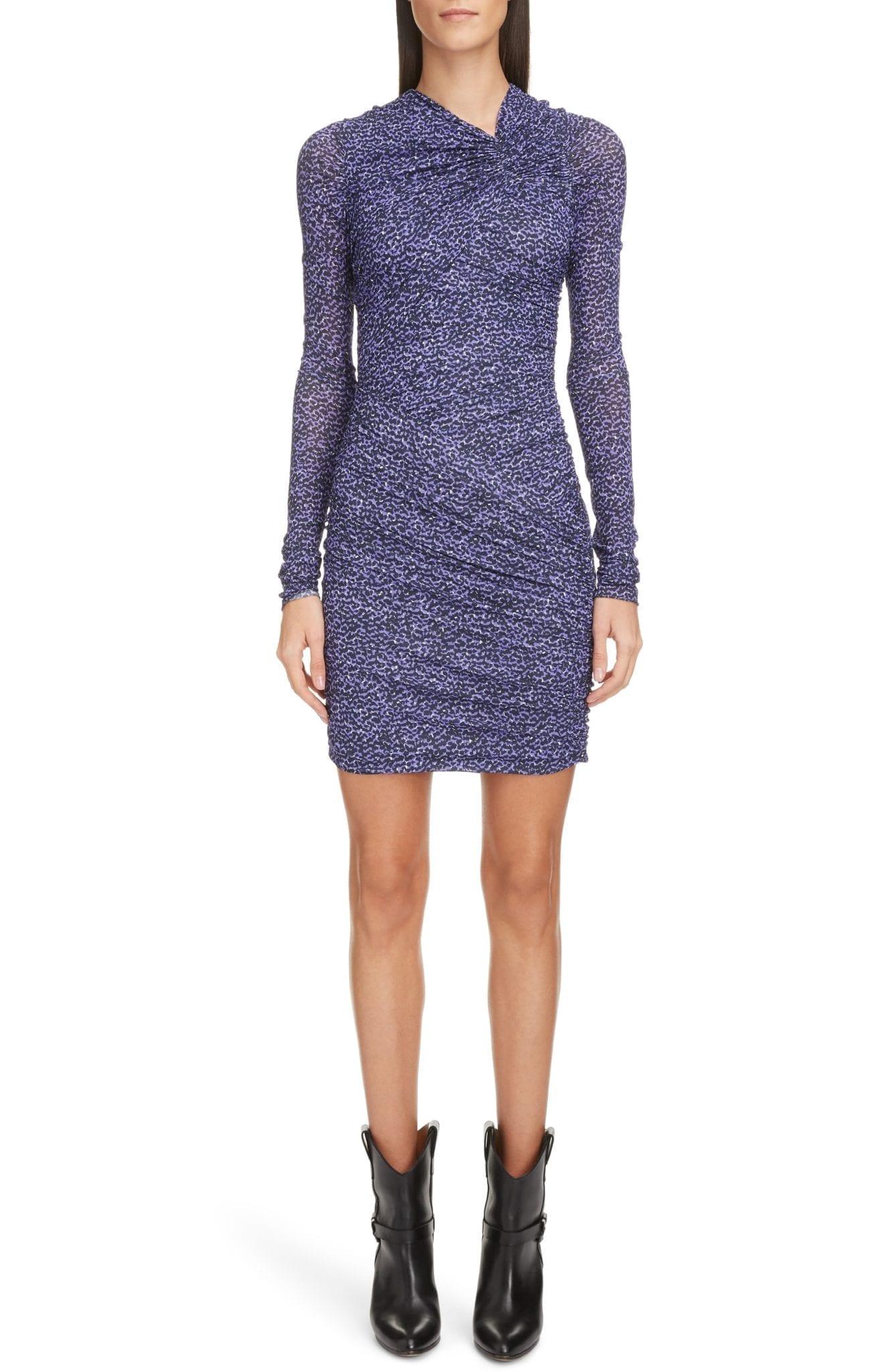 ISABEL MARANT Animal Print Ruched Jersey Long Sleeve Mini Dress