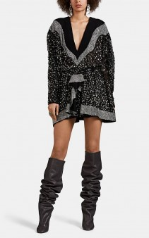 ISABEL MARANT Caldes Embellished Chiffon & Velvet Mini Dress