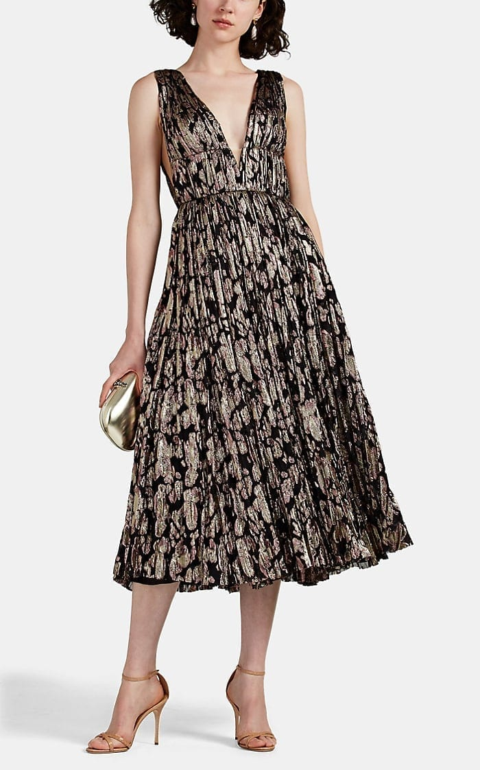 J. MENDEL Metallic Abstract Fil Coupé Cocktail Dress