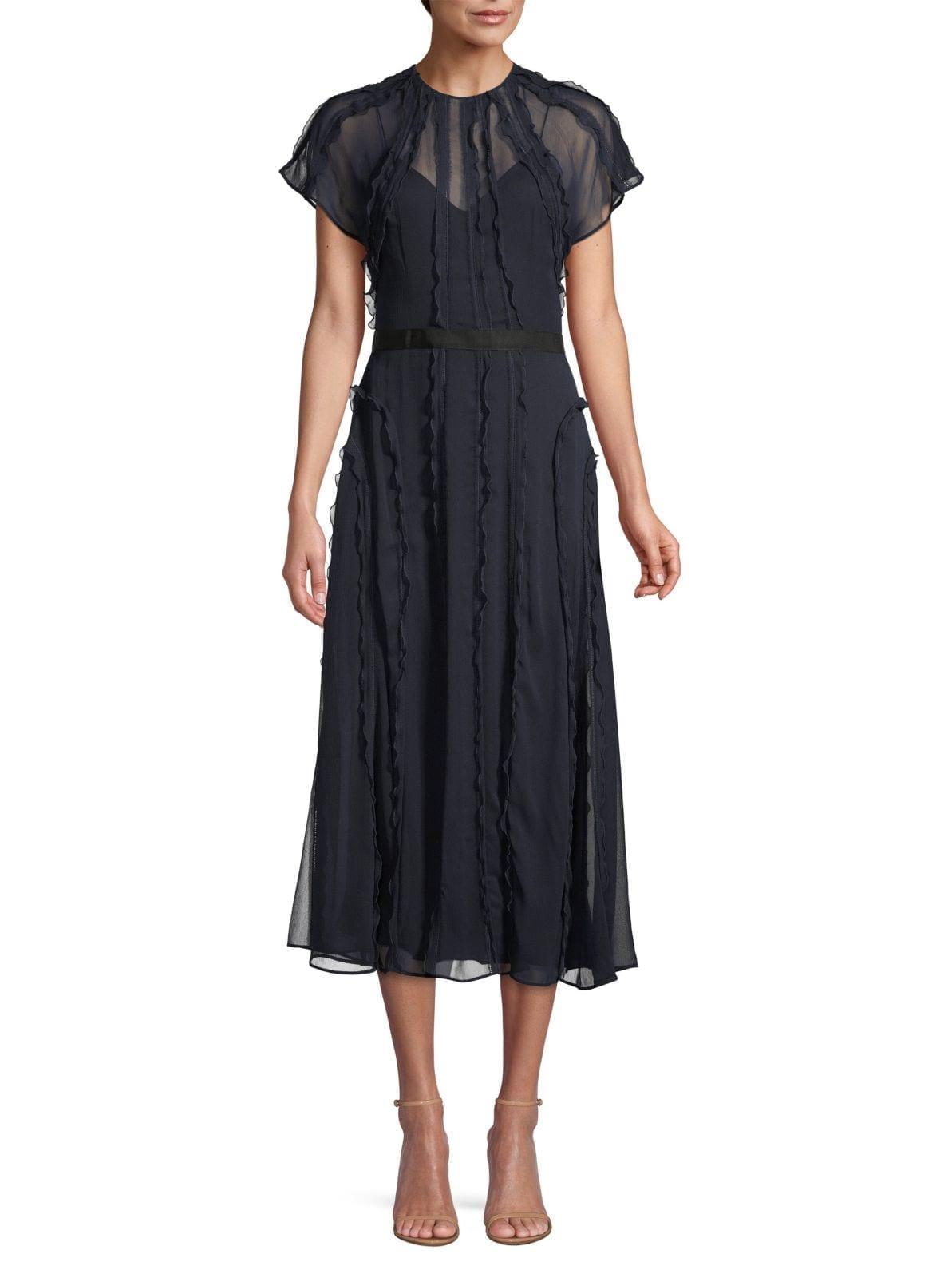 JASON WU COLLECTION Crinkle Silk Chiffon Ruffle Midi Dress