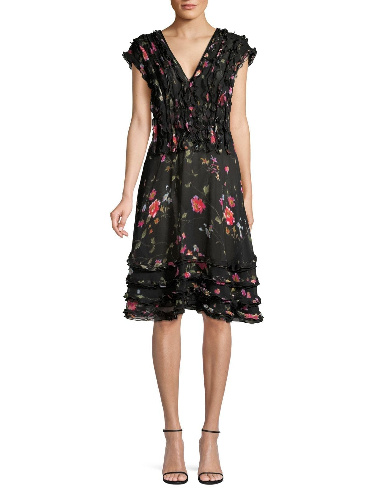 JASON WU COLLECTION Floral Vine Silk Chiffon Day Dress