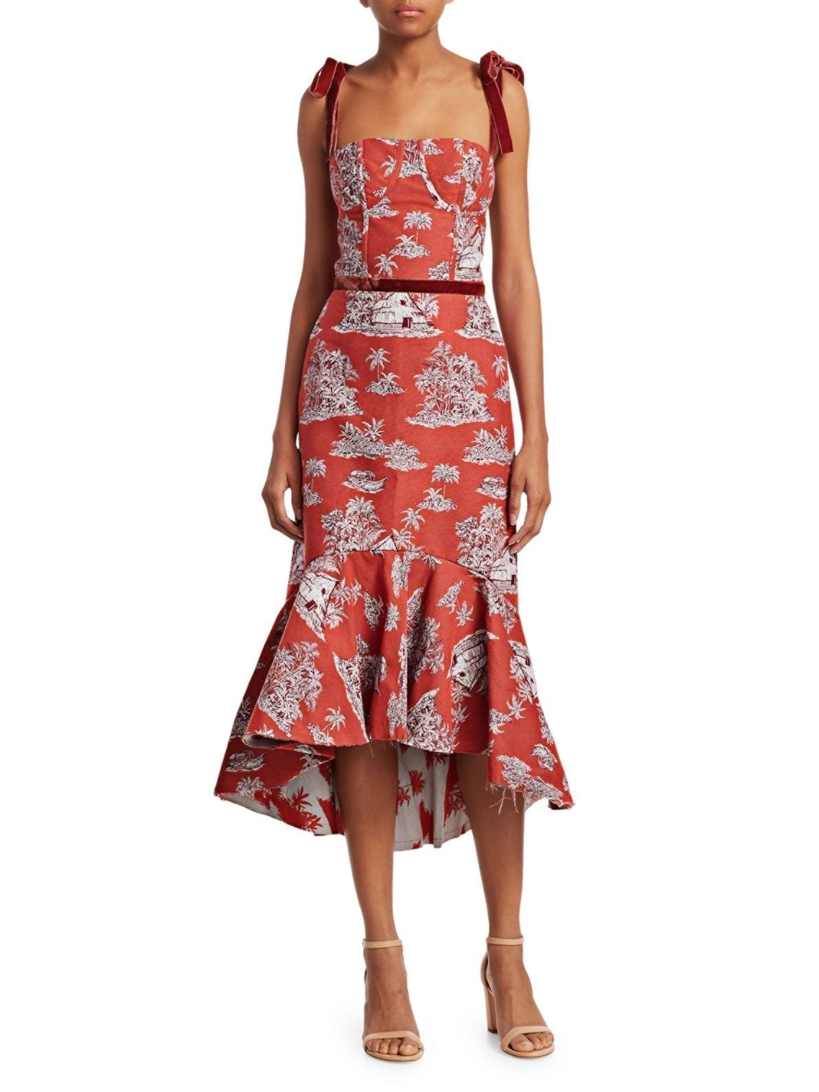 JOHANNA ORTIZ Printed High-Low Midi Dress