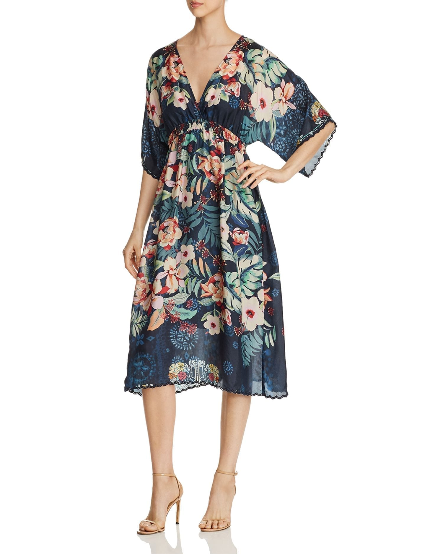 JOHNNY WAS Annia Printed Silk Dress