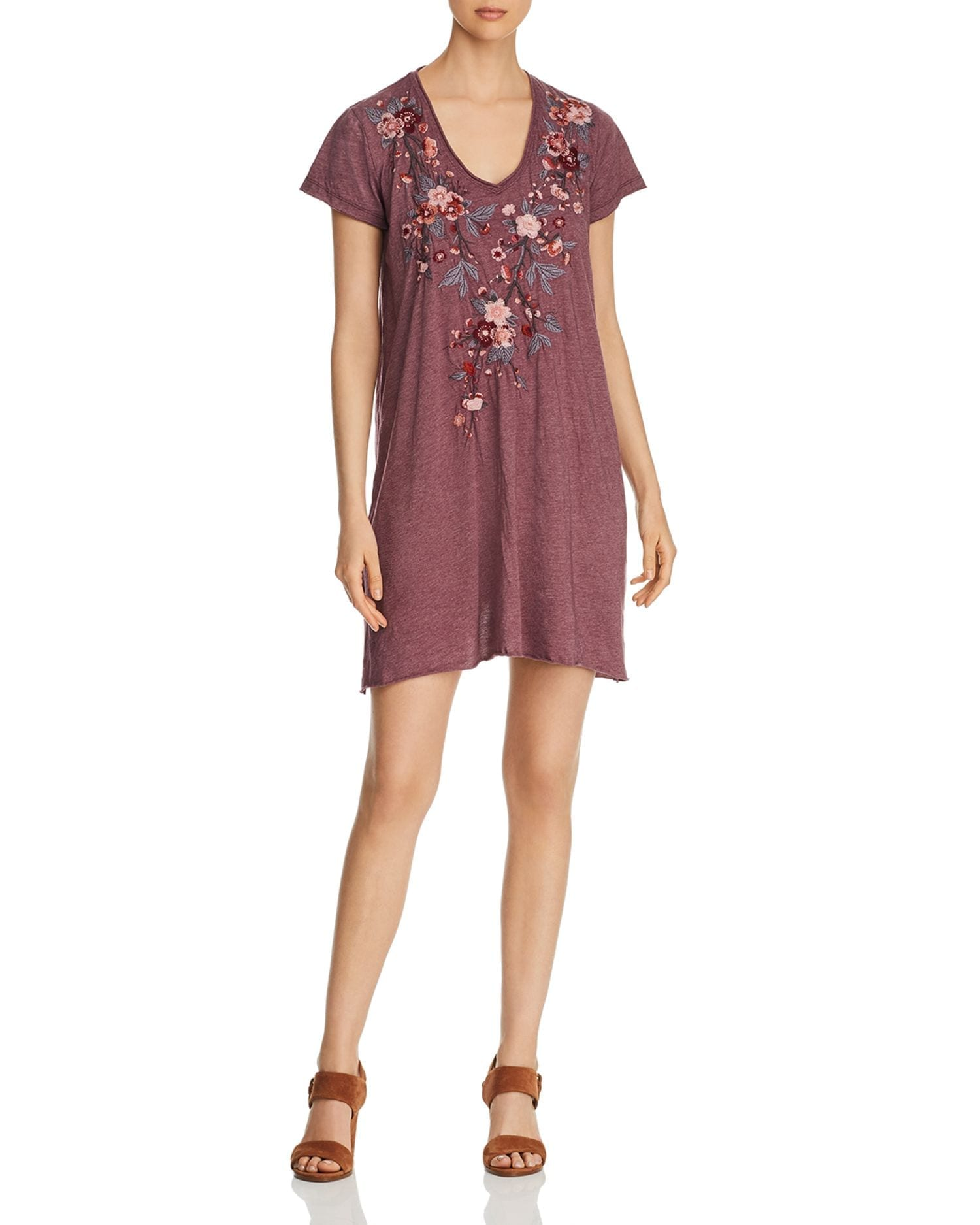 JOHNNY WAS Kira Embroidered Jersey Tunic Dress