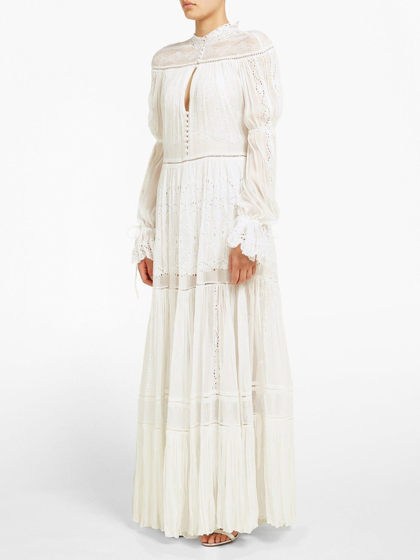 JONATHAN SIMKHAI Lace-panel Silk-chiffon Dress