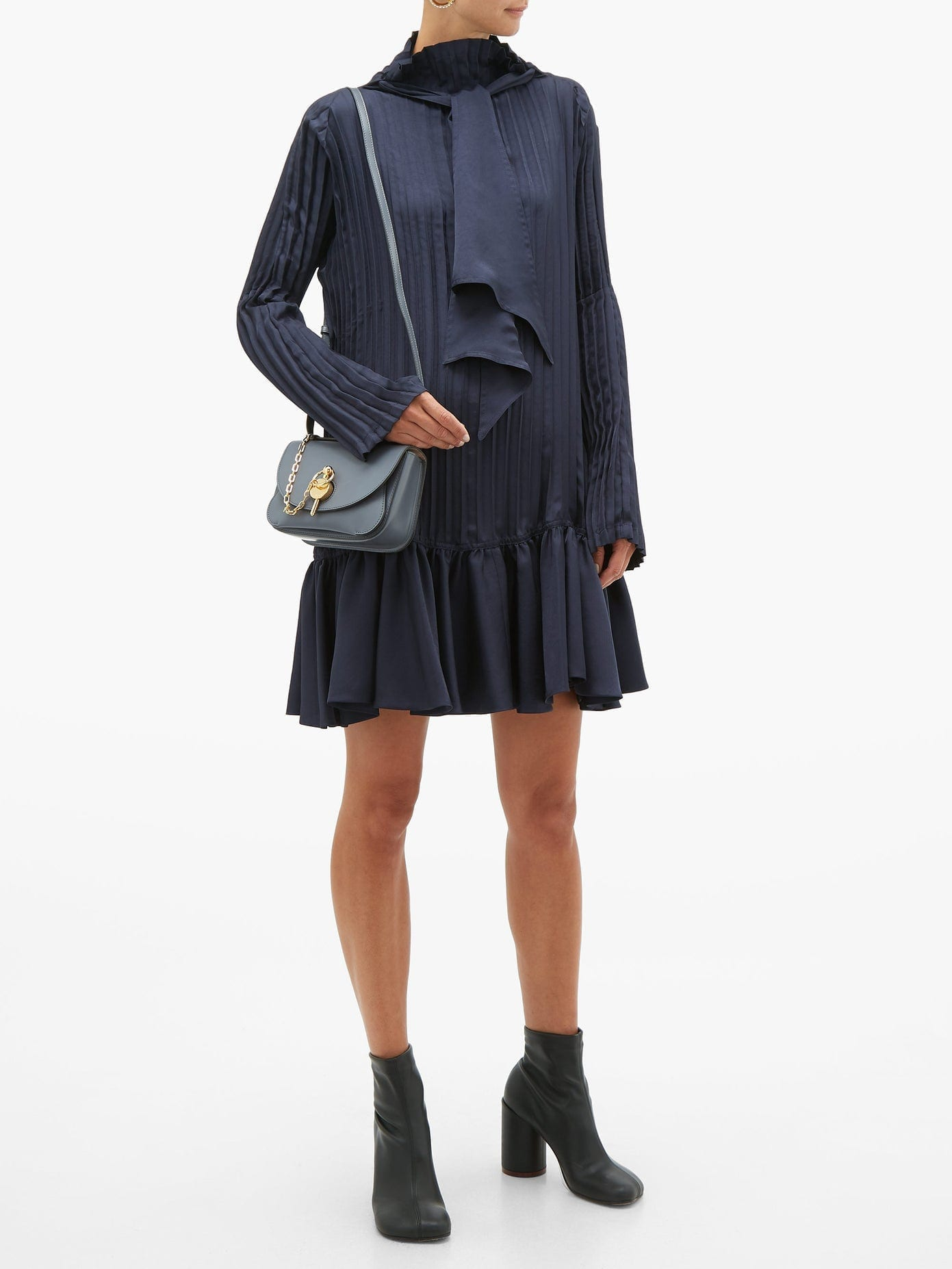 JW ANDERSON Pleated Neck-tie Satin Mini Dress