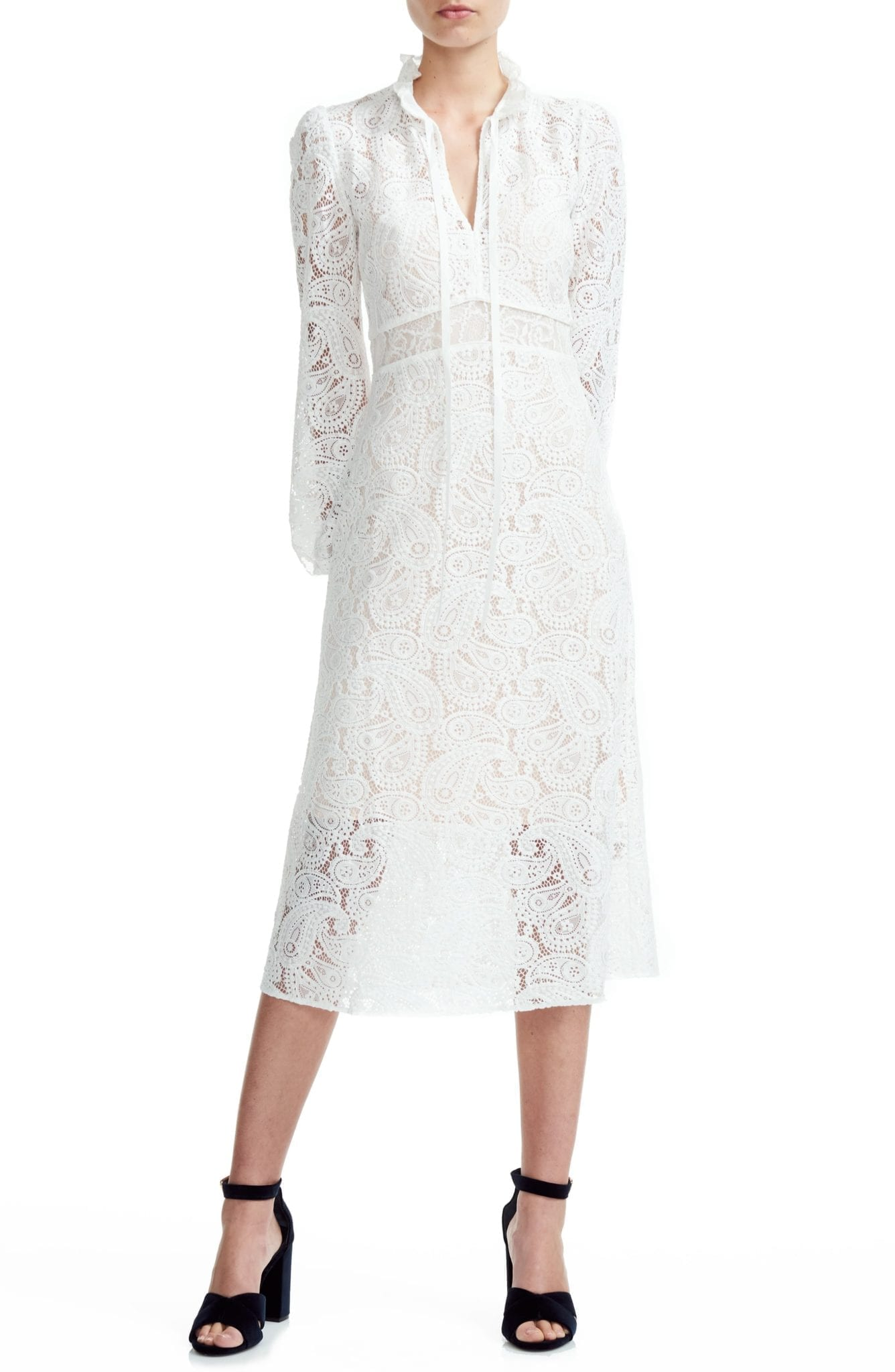 MAJE Rilie Lace Long Sleeve Midi Dress