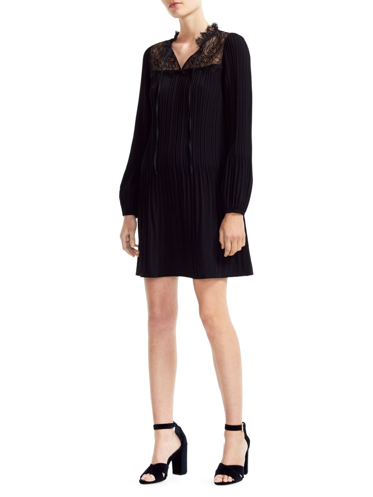 MAJE Rockette Lace-Yoke Pleated Dress
