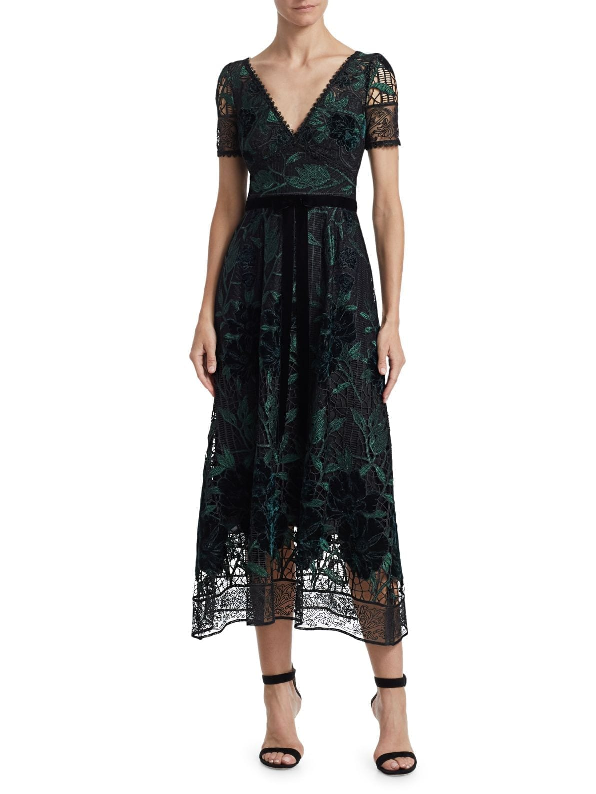 MARCHESA NOTTE Embroidered Velvet & Lace Cocktail Dress