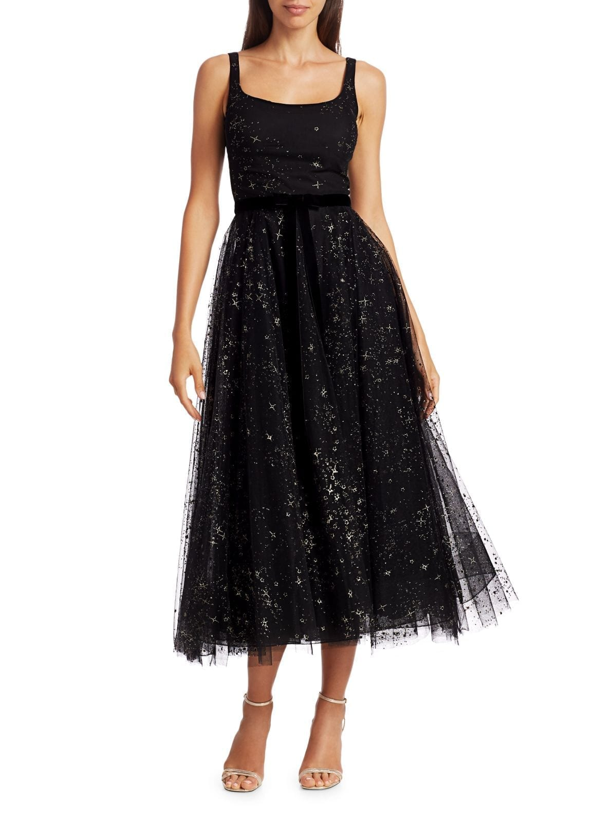MARCHESA NOTTE Glitter Tulle Sleeveless A-Line Dress