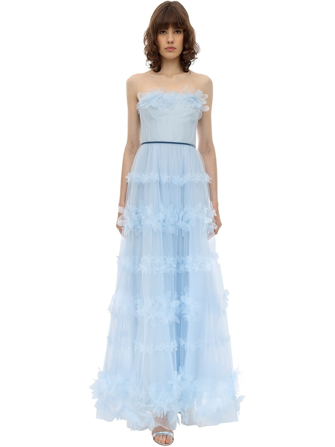 MARCHESA NOTTE Long Flower Embellished Tulle Dress