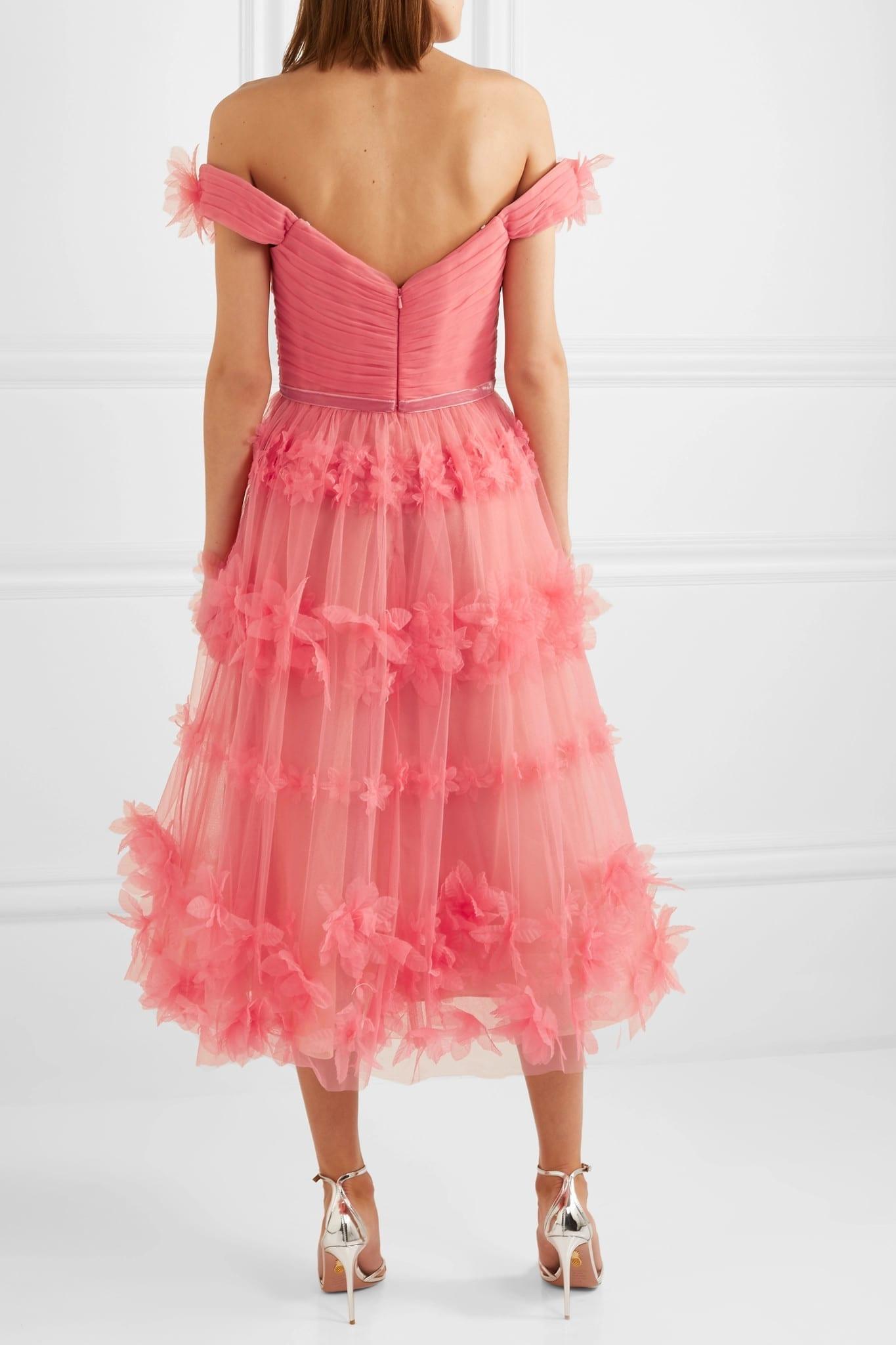 MARCHESA NOTTE Off-the-shoulder Velvet-trimmed Appliquéd Tulle Dress
