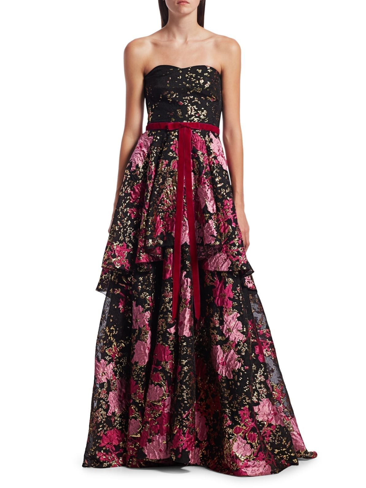 MARCHESA NOTTE Strapless Tiered Gown