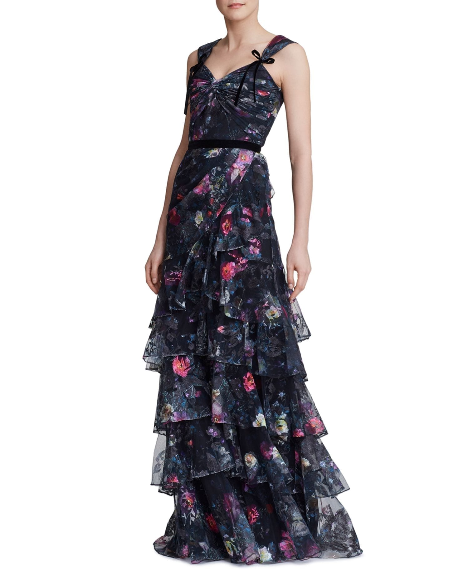 MARCHESA NOTTE Tiered Floral-Print Tulle Gown