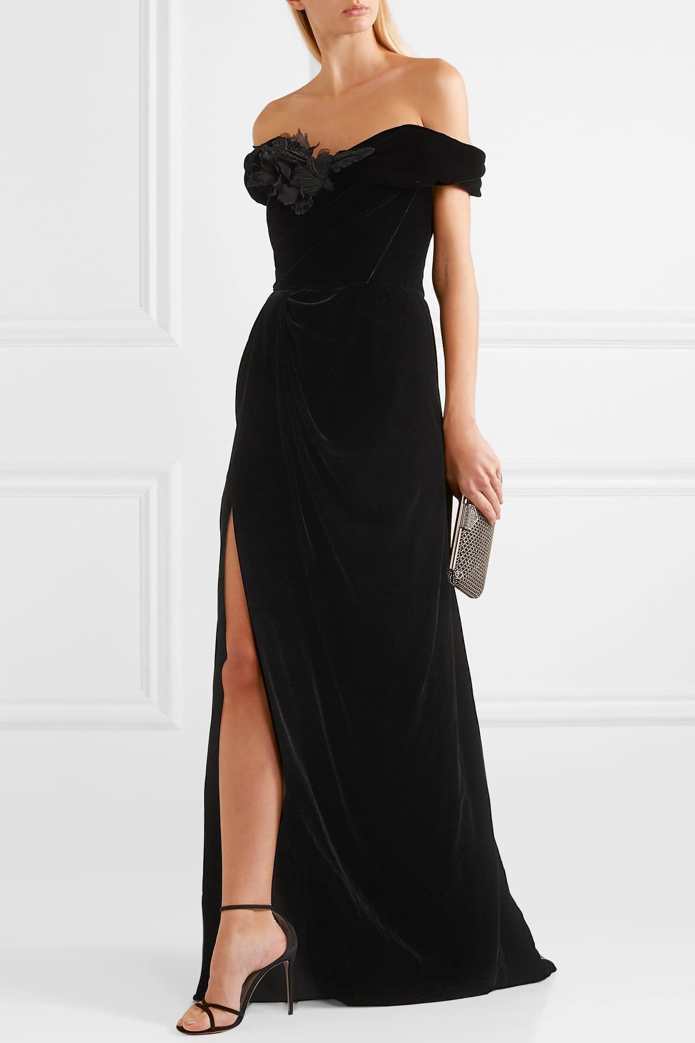 MARCHESA Off-the-shoulder Appliquéd Velvet Gown