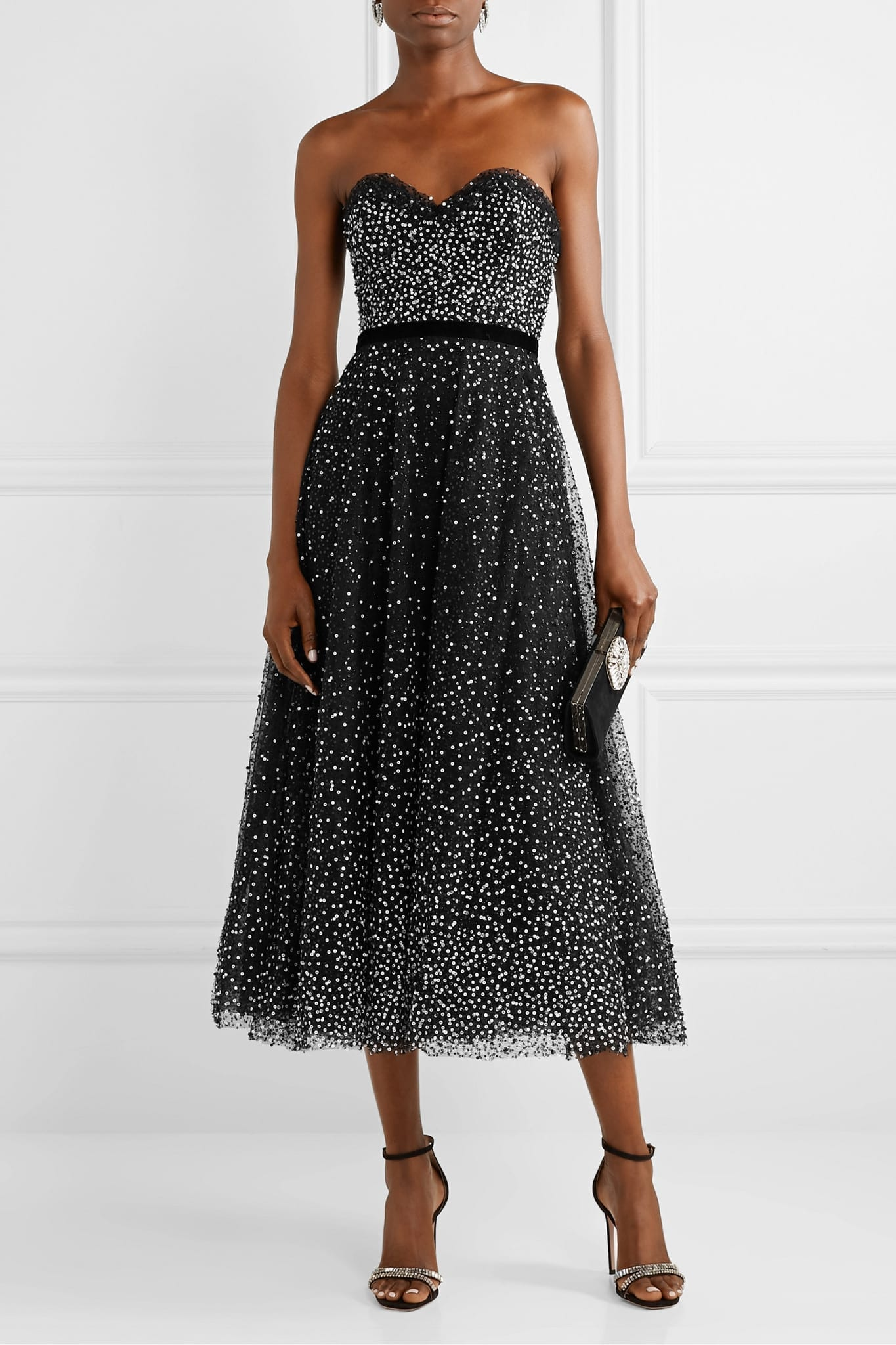 MARCHESA Strapless Velvet-trimmed Embellished Tulle Gown