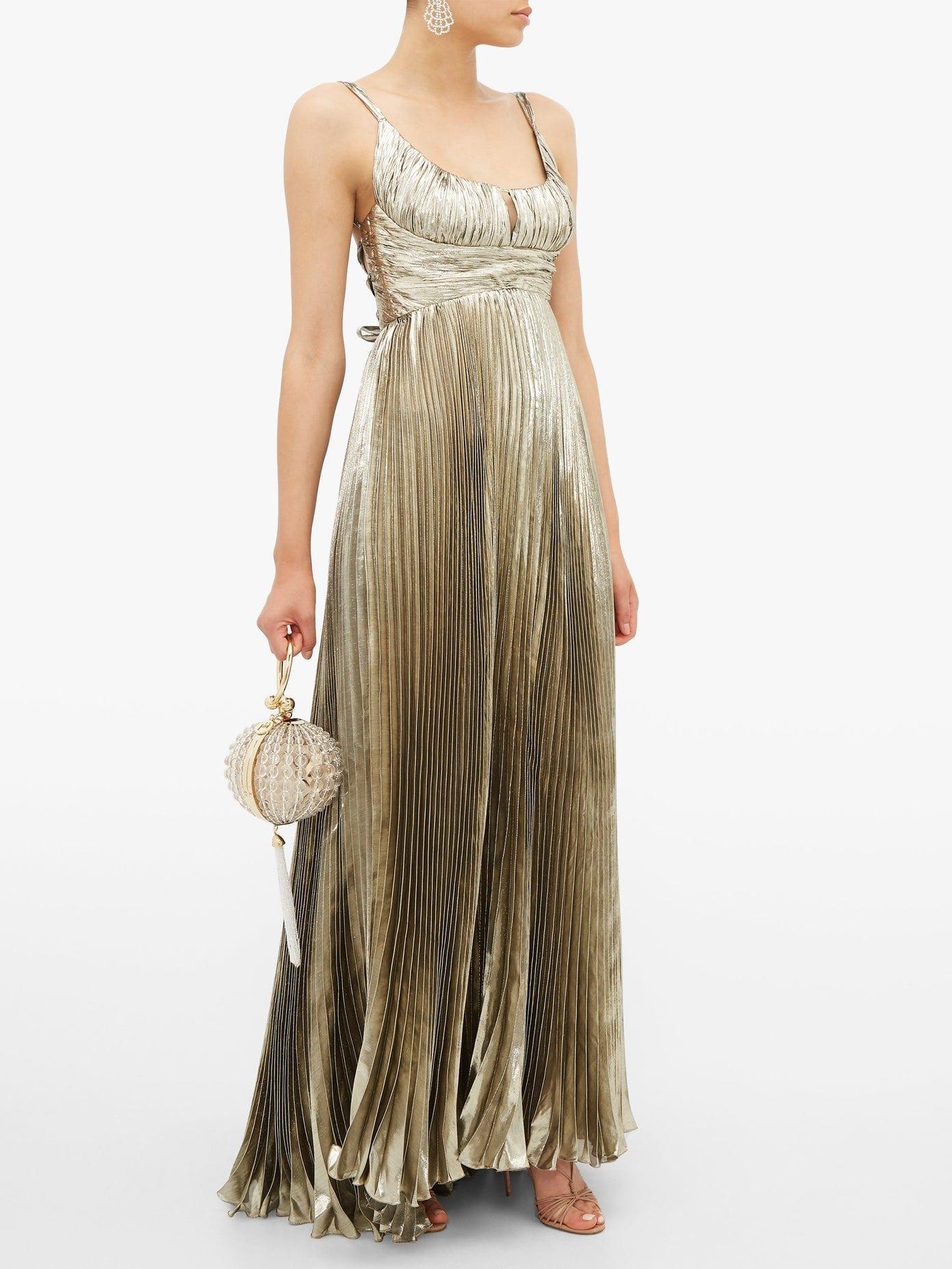 MARIA LUCIA HOHAN Amalia Metallic Silk-blend Chiffon Dress