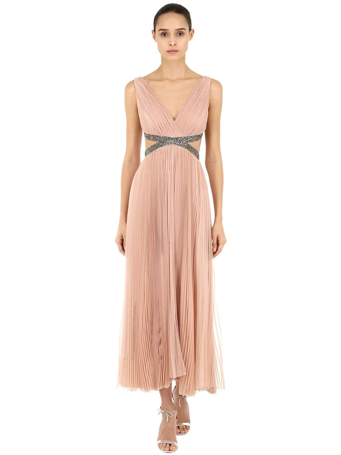 MARIA LUCIA HOHAN Embellishment Pleated Tulle Midi Dress