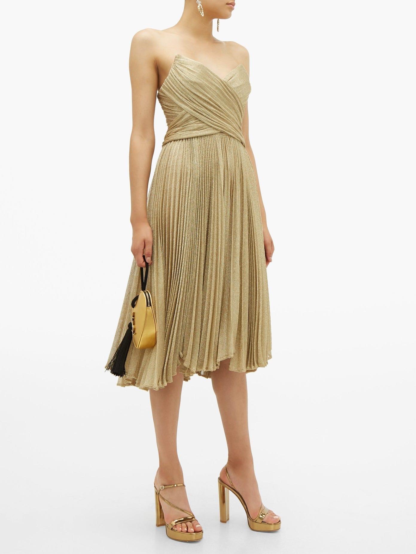 MARIA LUCIA HOHAN Kaira Tie-back Sweetheart Neckline Metallic Dress