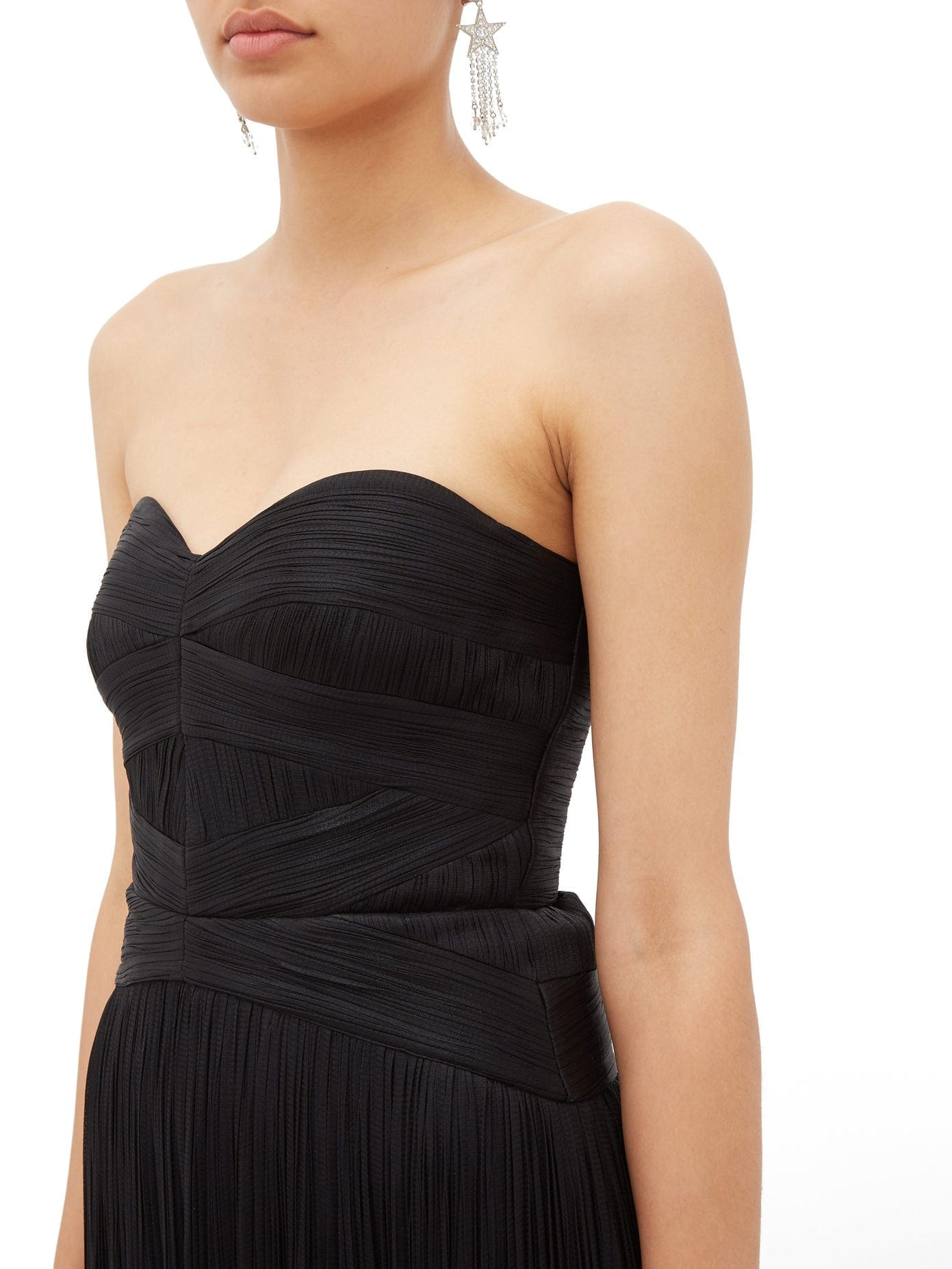 MARIA LUCIA HOHAN Saida Corseted Silk-chiffon Plissé Dress