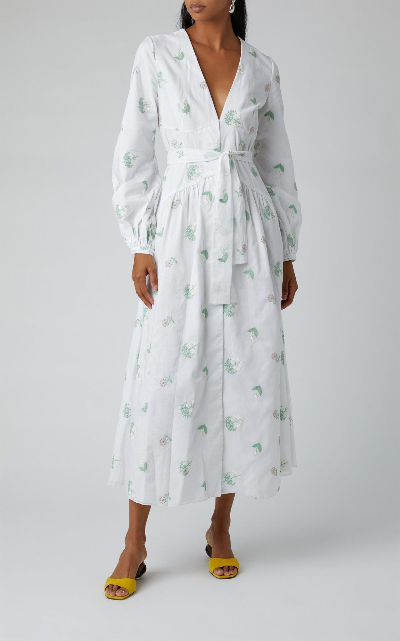 MARKARIAN Exclusive Zenia Embroidered Cotton Midi Wrap Dress