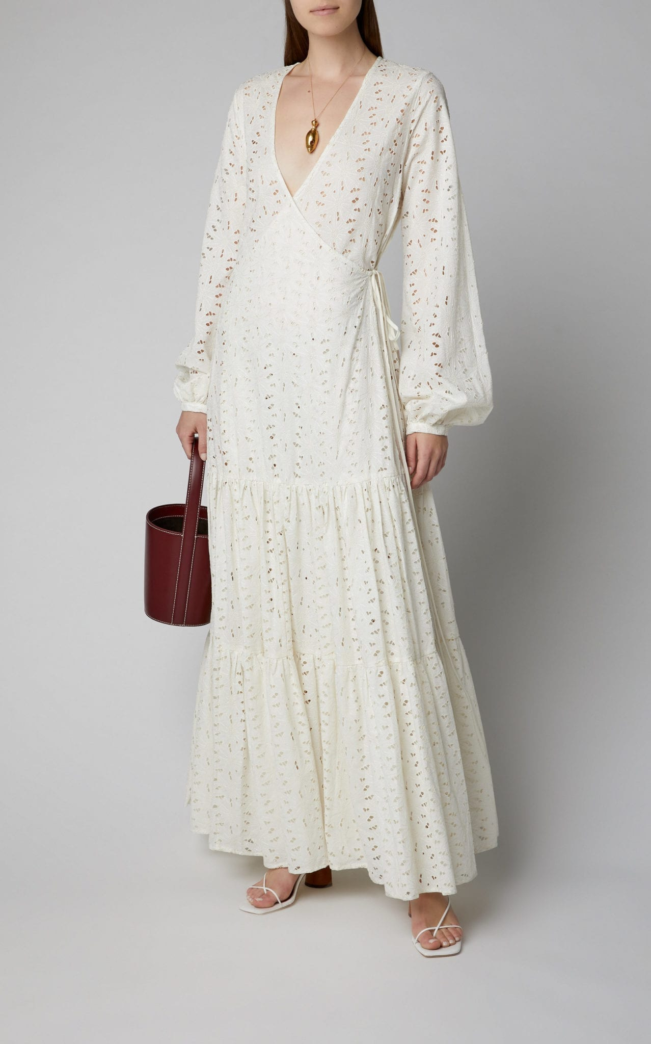 MATIN Floral Broderie Anglaise Cotton Maxi Dress